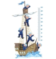 Meter wall with ship and happy sailors vector image vector image
