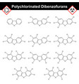 polychlorinated dibenzofurans dioxine-like class vector image vector image