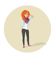 redhead hipster girl vector image