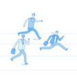 running businessmen jogging people run track race vector image