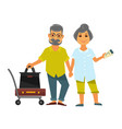 senior couple holding hands stands near bags for vector image vector image
