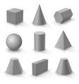 set of basic 3d shapes vector image