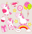 set of cute unicorns stickers in kawaii style vector image