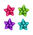 set of purple pink green gift ribbon bows vector image vector image