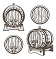 Set of vintage wooden barrels vector image