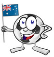 soccer ball cartoon with australian flag vector image vector image