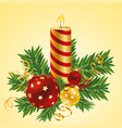 still life with candles and christmas tree vector image
