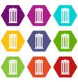 trash can icon set color hexahedron vector image vector image