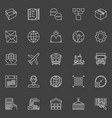 Warehouse and logistics outline icons