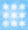 white snowflakes silhouettes isolated on abstract vector image vector image