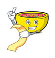 with menu soup union mascot cartoon vector image vector image