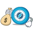 with money bag electroneum coin chracter cartoon vector image vector image