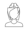 woman with brain avatar character vector image