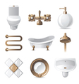 9 vintage styled bathroom icons vector image