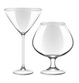 a martini glass and a glass for cognac vector image vector image