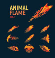 Animal flame mascot set logo