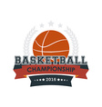 Basketball championship emblem vector image vector image