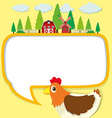 Border design with chicken and farm vector image vector image