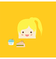 cartoon doodle girl rectangle like cake vector image