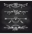 chalk boho style arrow dividers vector image vector image