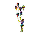 colorful silhouette a girl with balloons vector image vector image