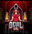 devil girl esport mascot logo design vector image