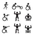 disable handicap sport icons runner bodybuilding vector image