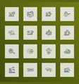 engine icons line style set with download vector image