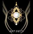 expensive art deco filigree daimond pendant with vector image