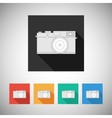 Film camera icon on square background vector image vector image