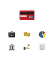 flat icon gain set of document graph payment and vector image vector image