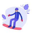 flat snowboarder man vector image vector image