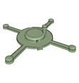 green cross-shaped spaceship on white background vector image vector image