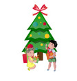 happy kids opening christmas gifts vector image vector image