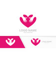 heart and hands logo combination embrace vector image vector image