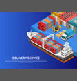 heavy machinery loading ship in cargo port vector image