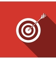 Icon target with dart isolated with long shadow vector image vector image