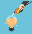 isometric businessman filling light bulb of idea vector image vector image