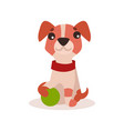 jack russell terrier character playing with green vector image vector image