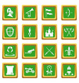 knight medieval icons set green vector image vector image