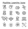 machine learning icon set in thin line style vector image