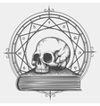 Magic book sketch with skull vector image vector image
