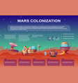mars colonization cartoon infographics vector image