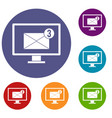 monitor screen with email sign icons set vector image vector image