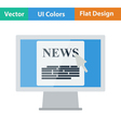 Monitor with news icon vector image vector image