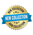 new collection 3d gold badge with blue ribbon vector image vector image