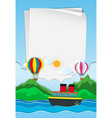 paper template with balloons in sky vector image vector image