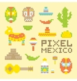 Pixel art isolated mexican objects vector image vector image