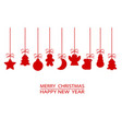 red christmas ornament elements tags hanging on vector image