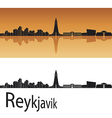 Reykjavik skyline in orange background vector image vector image